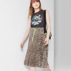 Target Wild Fable Leopard Print Pleated Midi Skirt